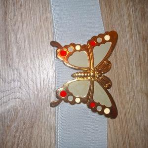 Vintage Gray Butterfly stretch Belt